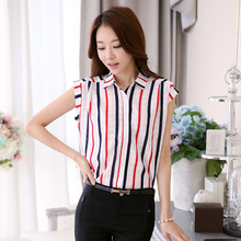 New women's clothing han edition chiffon unlined upper garment, easing striped shirt women coat in the summer
