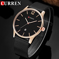 Curren Mens Watches Top Brand Luxury Ultra Thin Quartz Watch Men Business Stainless Steel Mesh Strap Waterproof WristWatch 8231