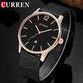 Curren mens relógios top marca de luxo ultra fina malha de aço inoxidável relógio de quartzo homens de negócios strap relógio de pulso à prova d' água 8231