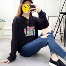 Women Korean Kawaii Pullovers Hoodies Sweatshirts Sporting Plus Size Long Sleeve Harajuku Hooded Tracksuit Loose Black White(China)