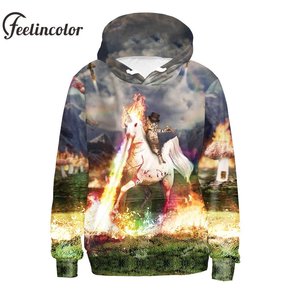 Feelincolor 3D Hoodies Autumn Winter Men/Women Lighting Cat Hero Sweatshirt 3D Print Hoodies Couples Hooded with Hat