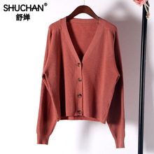 Shuchan Women Cardigan Knit Sweater V-Neck Office Lady Female Fall Womens Long Sleeve korean style women