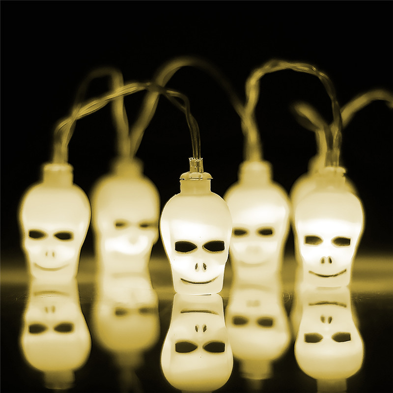 10 LED Skull Lights Battery Powered String Lights Halloween christmas decorations for home