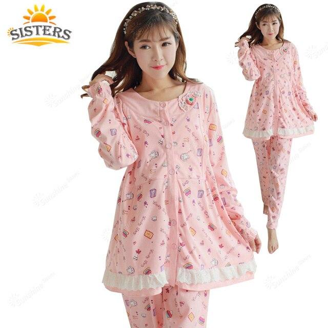 Plus Big Size XXXL Cotton Maternity Sleepwear Pregnant Women Pajamas Nursing Breast Feeding Nightgown Clothes For Lace Flowers