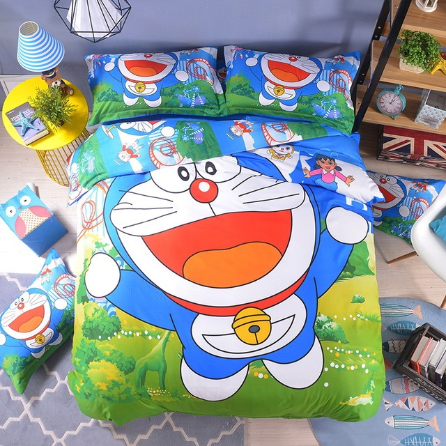 Free Shipping Hot Good Quality 3 4 Pcs Doraemon Bedding Set Children Cotton Bed Sheets Duvet Cover Sheet Pillowcase