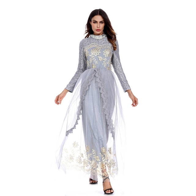 8ac68875a7 US $28.13 |Muslim adult mesh abaya Arab Fashion Turkey Middle East lace  embroidery muslim Dresses Musical Robe Ramadan abayas-in Islamic Clothing  from ...