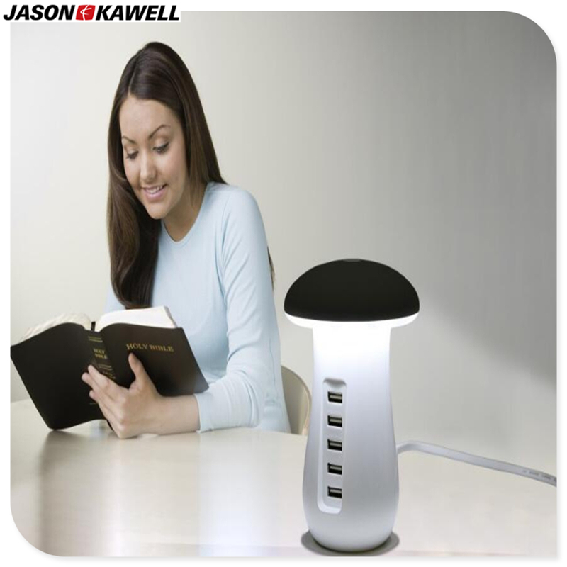 100pcs a lot Mushroom LED Desk Lamp with 5 ports USB charging station for any electronic Quick Charge 3.0 free shipping