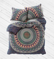 Queen Size Indian Mandala Duvet Cover Reversible Cotton Comforter Set Bed