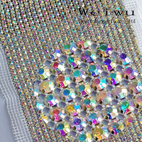 24 Rows 5 Yards Shiny Strass Crystal AB Sewing Accessories Rhinestone Mesh Trimming