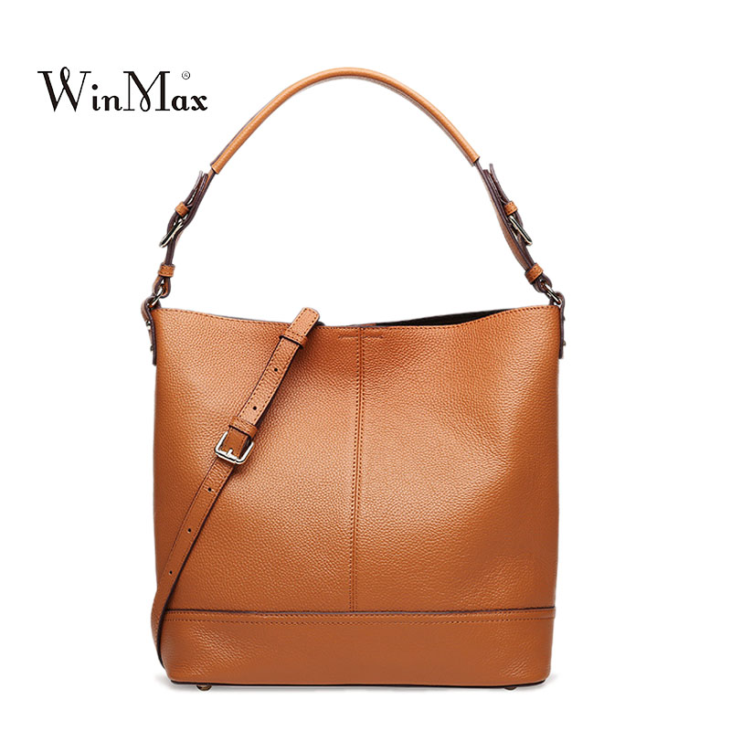 Quality Women Genuine Leather Handbags Bucket Shoulder Bag Cow Leather Tote Bag Female Handbags Sac a Main Ladies Hand Bags New new women genuine leather handbags shoulder bag oil wax cow leather tote bags female vintage handbags sac a main ladies hand bag