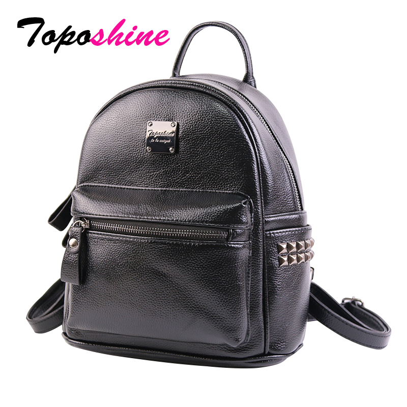 Toposhine Rivets Cute Women Backpacks Fashion PU Leather Women Shoulder Bag Rivet Small Ladies Backpack Girls School Bags 1751