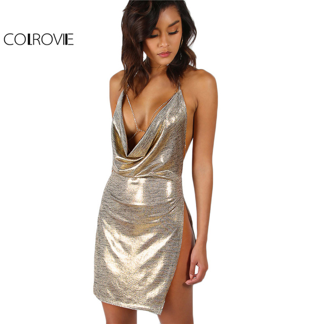 COLROVIE Metallic Plunge Cowl Party Dress Gold Sexy Slit Backless Women  Summer Dresses Mini Bodycon Draped Slim Club Dress 9c4b12129