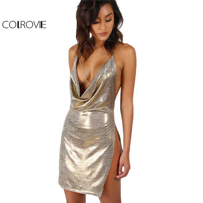 COLROVIE Metallic Plunge Cowl Vestito Da Partito Dell'oro Sexy Slit Backless Donne Vestiti Da Estate 2017 Mini Bodycon Drappeggiato Slim Club Dress