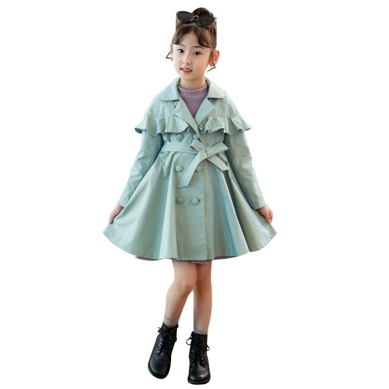 New Spring Autumn Children Girls Cotton   Trench   Coat Baby Girl Solid Ruffles   Trench   Windbreaker Kids Girls Clothes Outerwear Y23