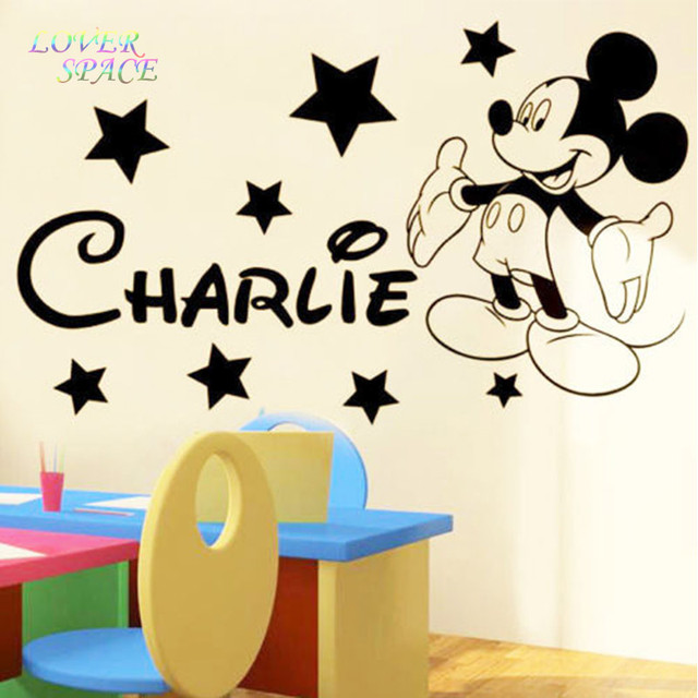 MICKEY Mouse Wallpapers Stickers For Kids Rooms Custom Name Removable Vinyl Home Decor Preschool Cartoon Wall Art 55X75CM