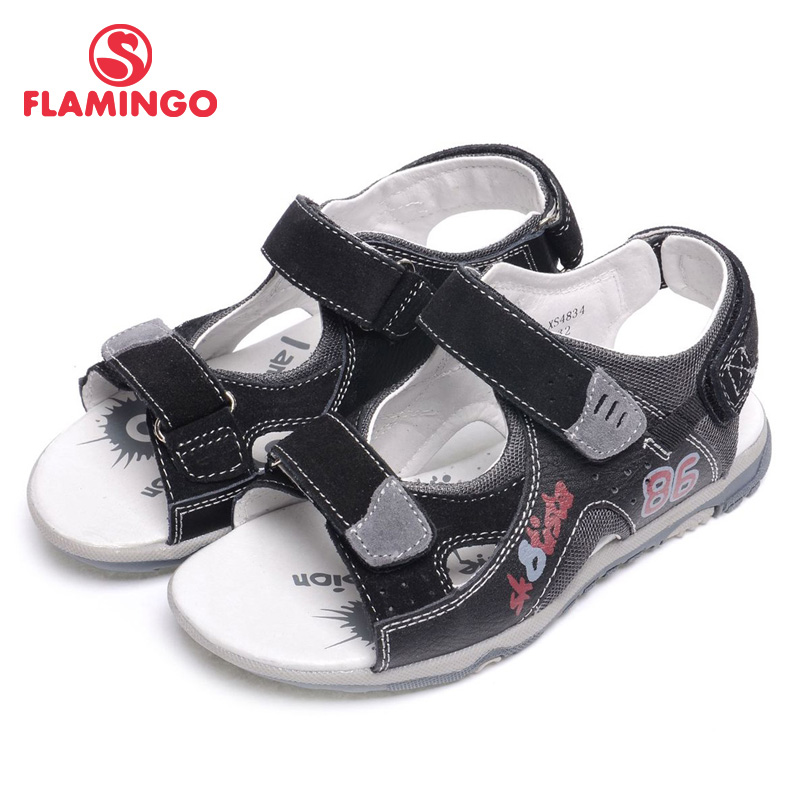 FLAMINGO 2016 new arrival summer kids shoes fashion high quality 100% genuine leather children sandals for boy XS4834
