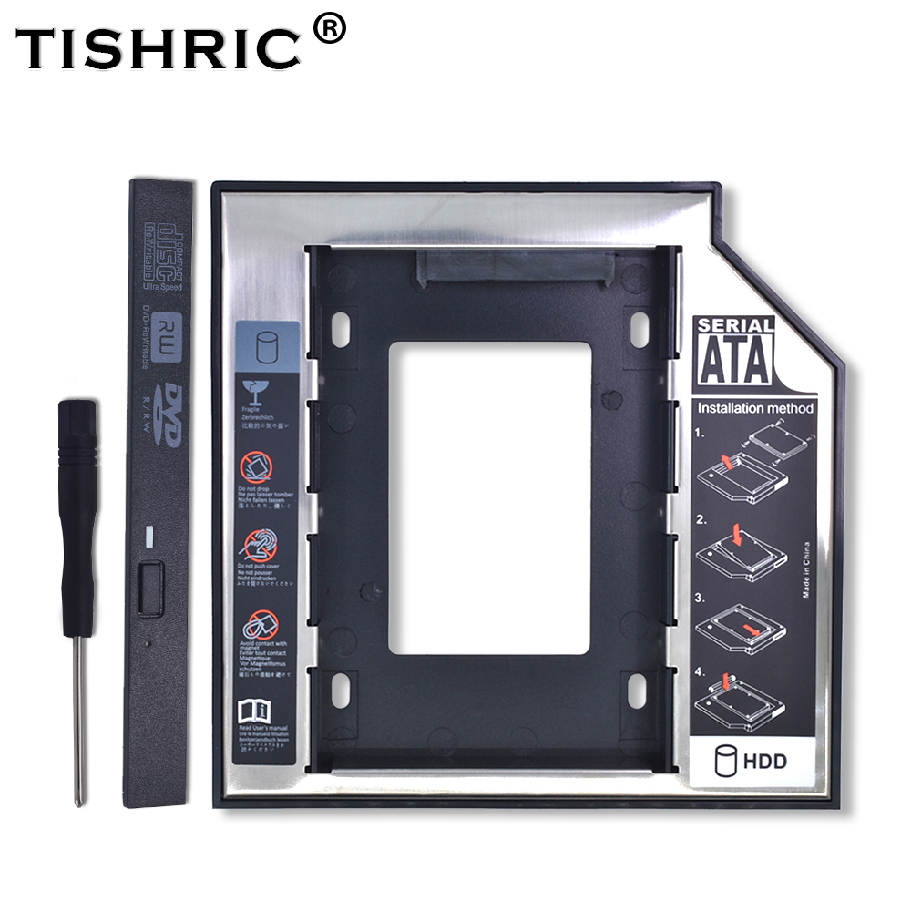 TISHRIC 2nd HDD Caddy 12.7mm SATA 3.0 Optibay Hdd Case/Enclosure Adapter Dvd Hdd Universal Aluminum For 2.5