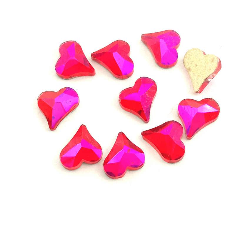 10 pièces Nail Art Décoration Paillettes Rouge AB Flatback Strass Pour Les Ongles Gemmes De Cristal bricolage Ovale Losange Marquise Diamant Pierres