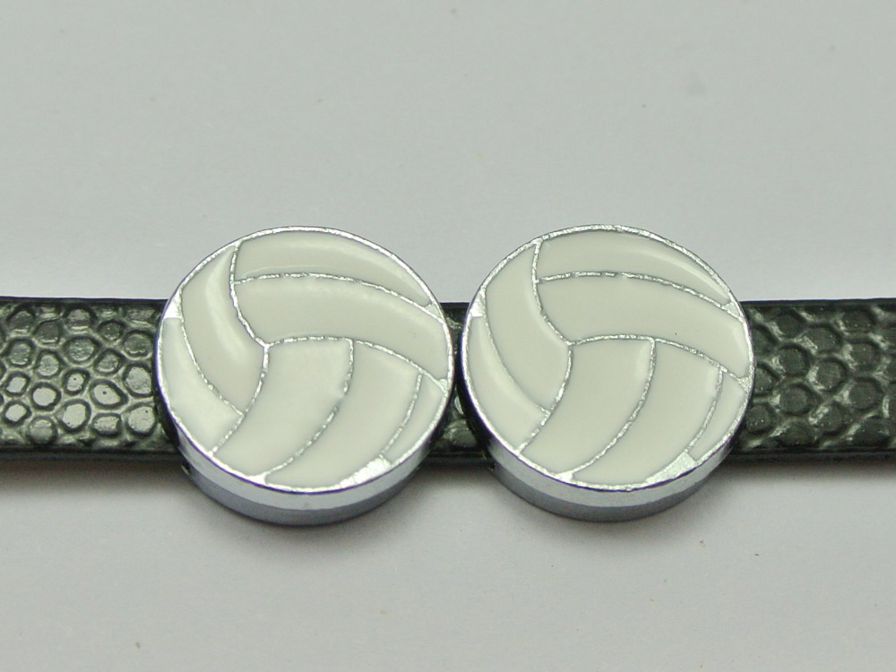 10 Alloy Enamel Volleyball Slide Charms Fit 8mm Wristband Belt Pet Collar