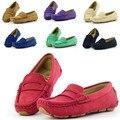 Размер 23 ~ 37 мокасины девушки повседневная shoes Цветные дети кожаные shoes