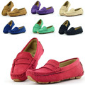 Size 23~37 moccasins girls casual shoes Colorful kids leather shoes