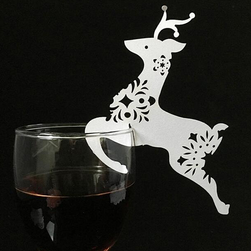 10 Colors Christmas Deer Laser Cut Paper Place Card  Escort Card  Cup Card Wine Glass Card For Wedding Xmas Christmas Favors (6)