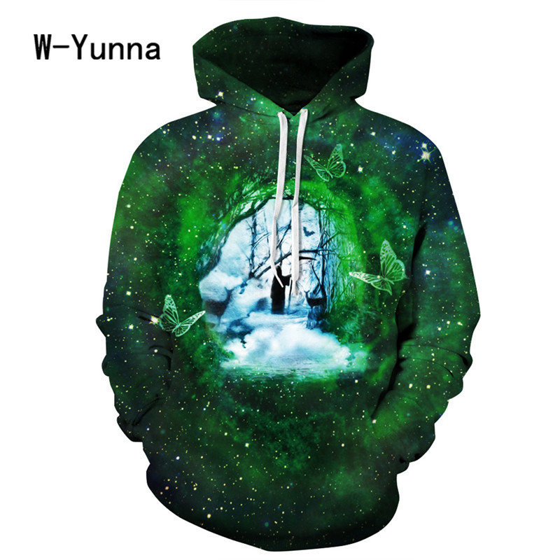 W-Yunna Autumn Winter Women/men Unisex Hooded Sweatshirt Long Sleeves Hat Hoody with Pocket Green Moletom