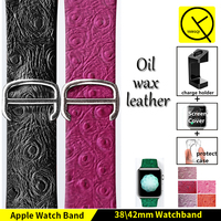 Oil Wax Peacock Pattern Watchband For Apple Watch Series1 2 Iwatch Genuine Leather Strap Bracelets Lady
