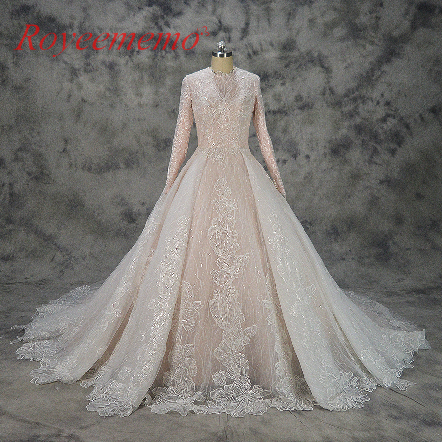 hot sale special lace design Muslim Wedding Dress nude satin all covered Bridal gown long sleeves