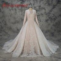 Hot sprzedaż specjalna projekt Muzułmanin Suknia Ślubna koronki nago satyna wszystkie zadaszone suknia długie rękawy suknia ślubna Dla Nowożeńców fabryki bezpośrednio