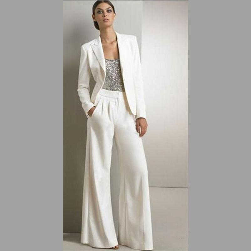 Modern White Two Pieces Mother Of The Bride Pant Suits ...