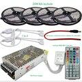 10 M 20 M DC12V RGB Impermeável CONDUZIU a Luz de Tira Flexível SMD 5050 + IR 44 Teclas do Controlador Remoto + 12 V 15A Transformador da fonte de Alimentação
