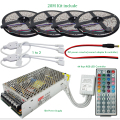 10M 20M DC12V Waterproof RGB LED Strip Light Flexible SMD 5050+ IR 44 Keys Remote Controller + 12V 15A Power Supply Transformer