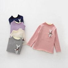 HOT Sale Autumn Winter fluff Baby Girl Blouses kids girls tops 2016 NEW Fashion Cotton Long Sleeve Bottoming Shirt for Girls