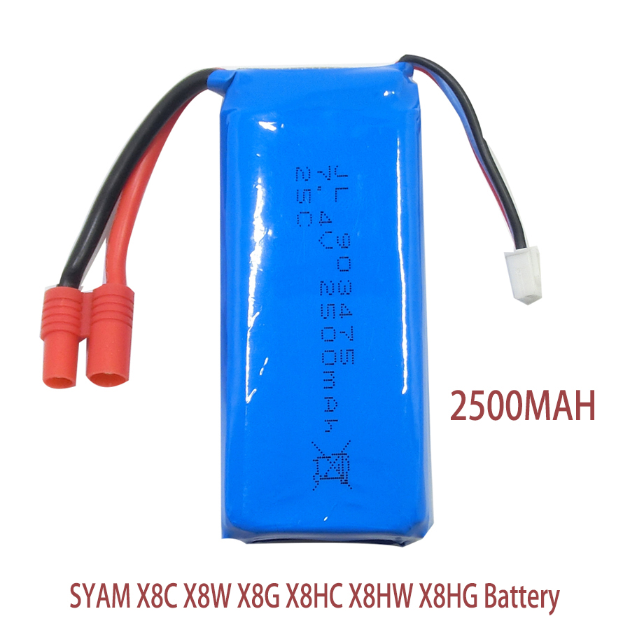 Syma X8G Battery RC Drone Lipo Battery 7.4v 2500mAh For Syma X8 X8C X8W X8HC X8HW X8HG RC Helicopter Spare Parts Extra Battery lipo battery 7 4v 2500mah for mjx f45 f645 t23 rc parts helicopter battery can add 3in1 charger f45 22 extra spare toys