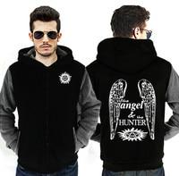 Dropshipping Sobrenatural Anjo Caçador Hoodies Dos Homens Zipper Jaqueta de Moletom Calor do Inverno do Velo Engrossar Casaco Jaqueta