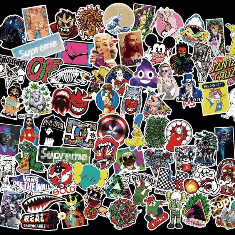 100 piezas y rollo Hip Hop Punk Banda de Música pegatinas para teléfono  portátil monopatín 66651d79a2f