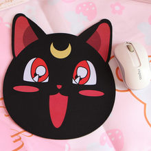 Anime Sailor Moon Luna Cat Computer Mouse Padding Gaming Mouse Pads Mat Black Cute Animals Soft Rubber Mice Pad Cosplay Prop New(China)