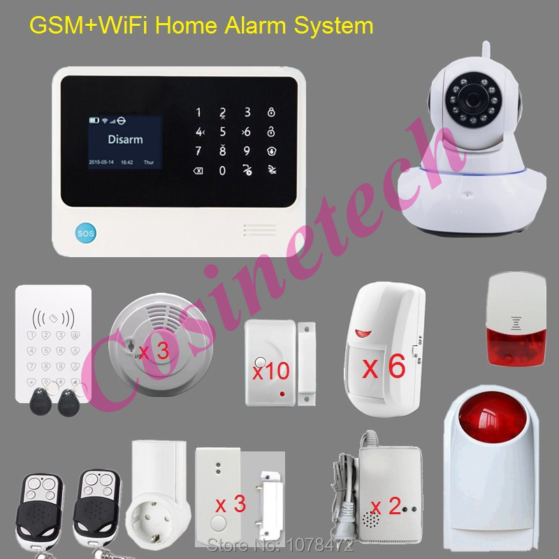 Customized WIFI GSM ALARM with App controlled,GPRS,surveillance IP camera alarm system,strobe siren,smoke sensor smart alarm arduino atmega328p gboard 800 direct factory gsm gprs sim800 quad band development board 7v 23v with gsm gprs bt module