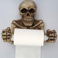 Wall Mount Roll Paper Holder Creative Horror Skull Tissue Box Shelf Bathroom Toilet Roll Paper Towel Storage Rack