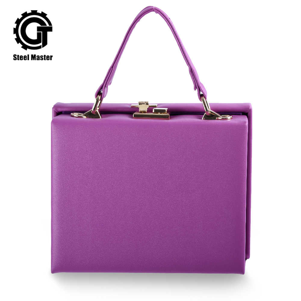 Women's Handbag Purple Square Box Leather Bag Metal Push Button Fashion Totes