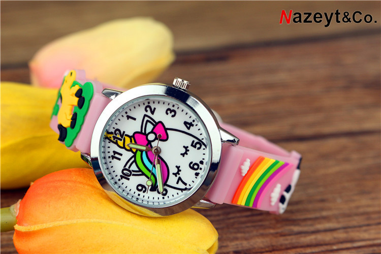 2019 Children On The New 3 D Jelly Watch Cartoon Animals Rainbow Silicone Wrist Watch Luminous Pointer To Watch