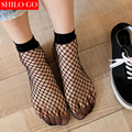 Free shipping summer Women Socks Ruffle Fishnet Ankle High Socks Lady Mesh Lace Fish Net Short Glitzy Transparent Women Socks