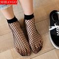 Free shipping summer Women Socks Ruffle Fishnet Ankle High Socks Lady Mesh Lace Fish Net Short Glitzy Transparent Women Socks