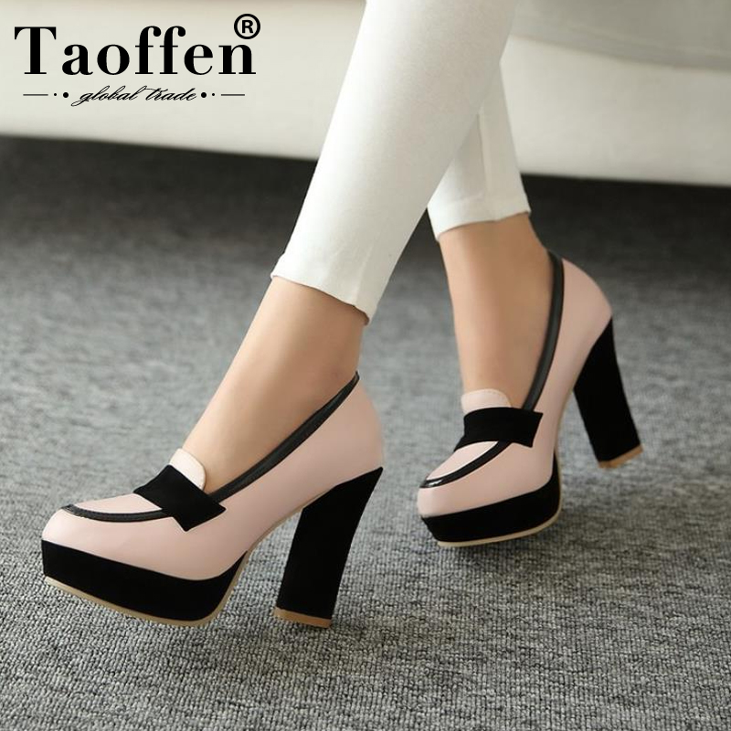 TAOFFEN Ladies High Heel Shoes Women Sexy Dress Footwear Fashion Lady Female Brand Pumps P13025 Hot Sale EUR Size 34-47(China)