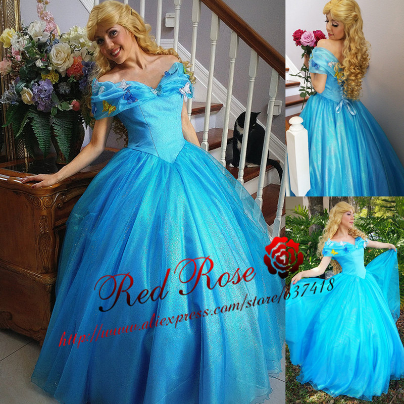 Objective Cinderella Movie Cosplay Lace Up Back With Butterfly Appliques Cinderella Costume Dress Adults Quinceanera Dresses A Complete Range Of Specifications