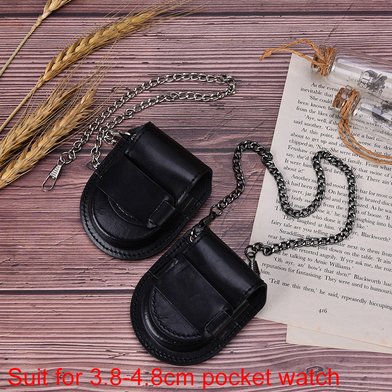 New Sale Vintage Classic Pu Leather Pocketed Watch Box Holder Storage Case Coin Purse Pouch Bag With Chain