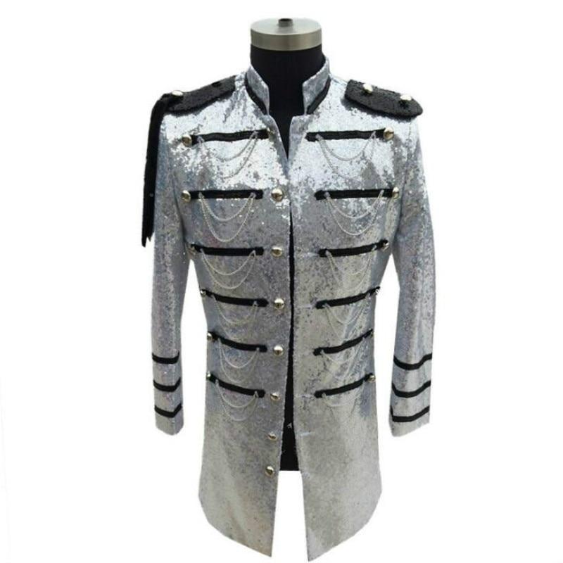 Vêtements de scène paillettes uniforme militaire hiver nouveaux costumes de discothèque hommes auto-culture longue section