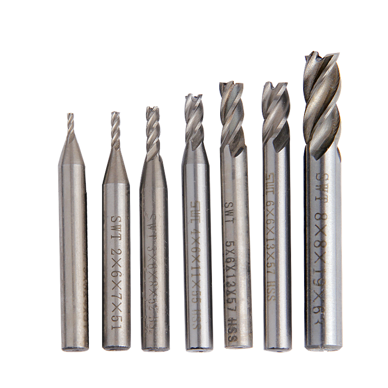 Milling Cutter Straight Shank Router Bit Carbide End Mill Flutes 1.5mm-6mm 7Pcs