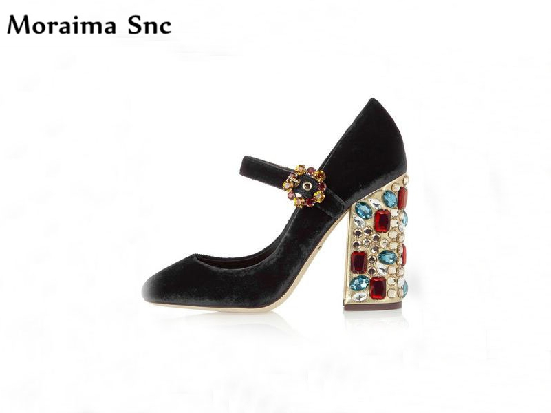 Moraima Snc crystal studded high heels round toe wedding shoes female vintage suede shallow buckle 2018 newest women shoesMoraima Snc crystal studded high heels round toe wedding shoes female vintage suede shallow buckle 2018 newest women shoes